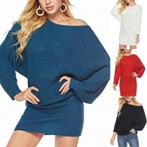 Fashion Solid Color Dolman Sleeve Round Neck Sweater