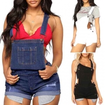 Fashion High Waist Relaxed-fit Denim Shorts Overalls