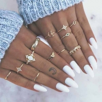 Fashion Rhinestone Inalid Gold-tone Ring Set 13pcs/Set