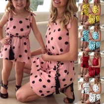 Sweet Style Dots Printed Parent-child Sling Dress