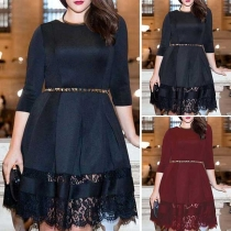 Elegant Solid Color Half Sleeve Round Neck Lace Spliced Hem Dress