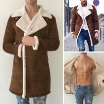 Fashion Contrast Color Lapel Collar Long Sleeve Men'sCoat