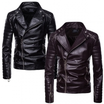 Fashion Long Sleeve Stand Collar Oblique Zipper Men's PU Leather Jacket