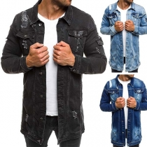 Fashion Solid Color Lapel Collar Single-breasted Long Sleeve Ripped Jacket