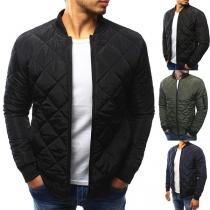 Fashion Solid Color Long Sleeve Slim Fit Zipper Men's Coat