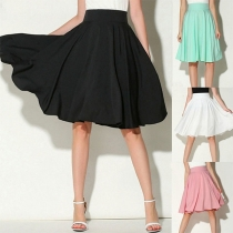 Fashion Solid Color High Waist Skirt