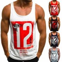 Fashion Printed Round Neck Men's Sports Tank Top