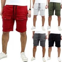 Fashion Solid Color Front-pocket Men's Knee-length Shorts