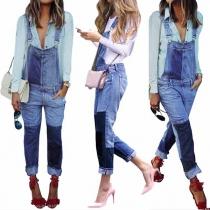 Fashion Contrast Color High Waist Denim Overalls