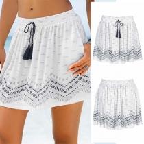 Fashion Drawstring Elastic Waist Printed Skirt
