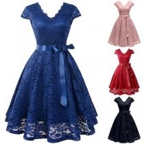 Elegant Solid Color Cap Sleeve V-neck High Waist Lace Dress