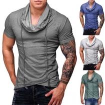 Fashion Solid Color Short Sleeve Cowl Neck Men's T-shirt