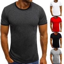 Fashion Contrast Color Short Sleeve Round Neck Men's T-shirt
