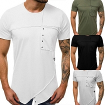 Chic Style Short Sleeve Round Neck Solid Color Men's T-shirt  (The size falls small)