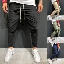 Fashion Solid Color Drawstring Waist Men's Pants