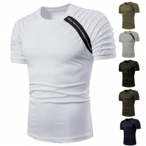 Fashion Short Sleeve Round Neck Side-zipper Men's T-shirt