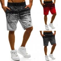 Fashion Drawstring Waist Printed Men's Knee-length Shorts