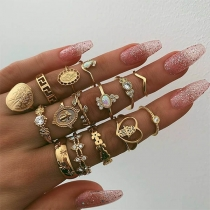 Retro Style Rhinestone Inlaid Ring Set 15 pcs/Set