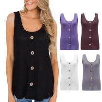 Fashion Solid Color Round Neck High-low Hem Tank Top