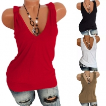 Sexy V-neck Sleeveless Solid Color T-shirt