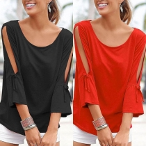 Fashion Solid Color Hollow Out Trumpet Sleeve Round Neck T-shirt