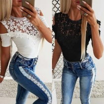 Sexy Off-shoulder Short Sleeve Round Neck Lace Spliced T-shirt