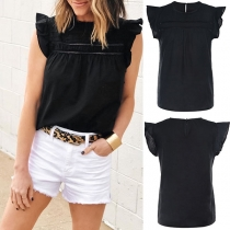 Fashion Solid Color Round Neck Top