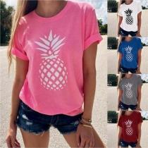 Fashion Pineapple Printed Short Sleeve Round Neck T-shirt