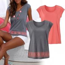 Fashion Sleeveless Round Neck Printed T-shirt