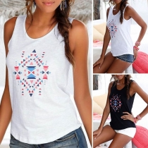 Fashion Printed Round Neck Casual Tank Top