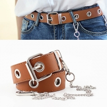 Punk Style Keyhole PU Leather Waistband