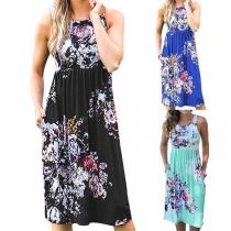 Fashion Sleeveless Round Neck Printed Dress