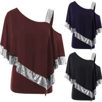 Sexy Oblique Shoulder Sequin Spliced Loose T-shirt
