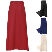 Fashion Solid Color High Waist Slit Hem Skirt