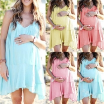 Sexy Backless V-neck Solid Color Sling Maternity Dress
