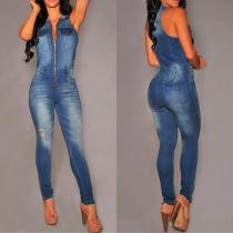 Fashion Sleeveless POLO Collar High Waist Slim Fit Denim Jumpsuit