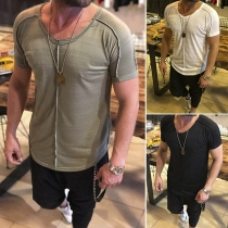 Fashion Solid Color Short Sleeve Round Neck Men's T-shirt