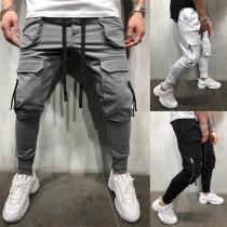 Fashion Solid Color Big-pocket Men's Casual Pants