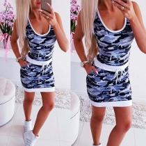 Fashion Sleeveless Round Neck Camouflage Printed Dress