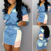 Fashion Contrast Color Long Sleeve Denim Shirt + Skirt Two-piece Set