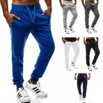 Fashion Solid Color Drawstring Waist Men's Sports Pants