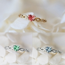 Fashion Heart-shaped Rhinestone Inlaid Ring
