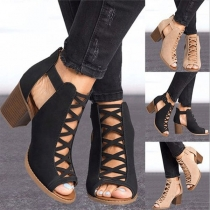 Fashion Thick Heel Peep Toe Hollow Out Shoes