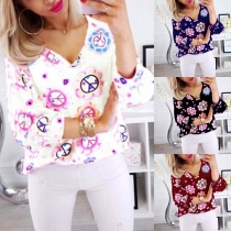 Fashion Puff Sleeve V-neck Printed Top