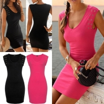 Fashion Solid Color Sleeveless Round Neck Slim Fit Dress