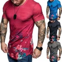Fashion Round Neck Short Sleeve Man's Printed T-Shirt