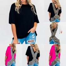 Sexy Backless Short Sleeve Leopard Spliced T-shirt