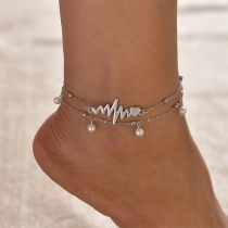 Fashion Imitation Pearl Anklet Set 2 pcs/Set