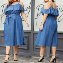 Sexy Off-shoulder Ruffle Oversized Plus-size Sling Denim Dress