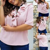 Sweet Style Short Sleeve Ruffle Oversized Plus-size Blouse